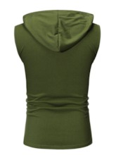 Black/Army Green Casual Print Loose Letter Hooded Summer Men's Vest