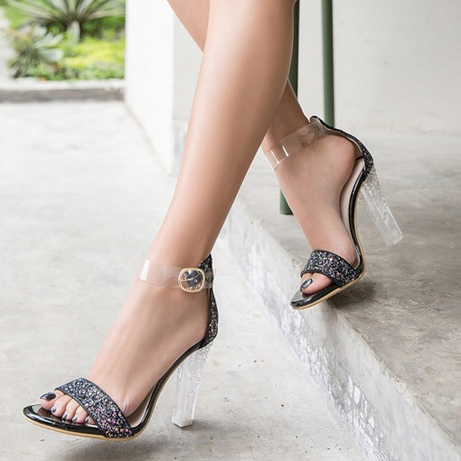 Chunky Heel Heel Covering Open Toe Buckle Sequin Sandals