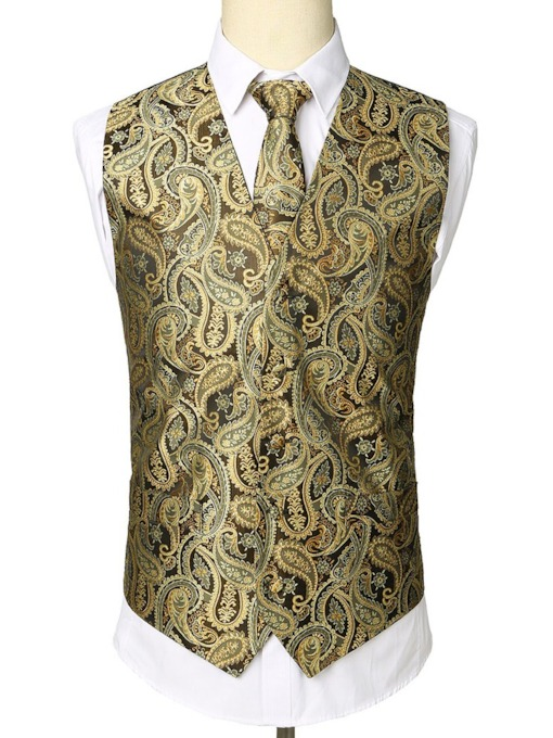 Wedding Bussiness Luxury Floral Print V-Neck Color Block Button Single-Breasted Men's Waistcoat