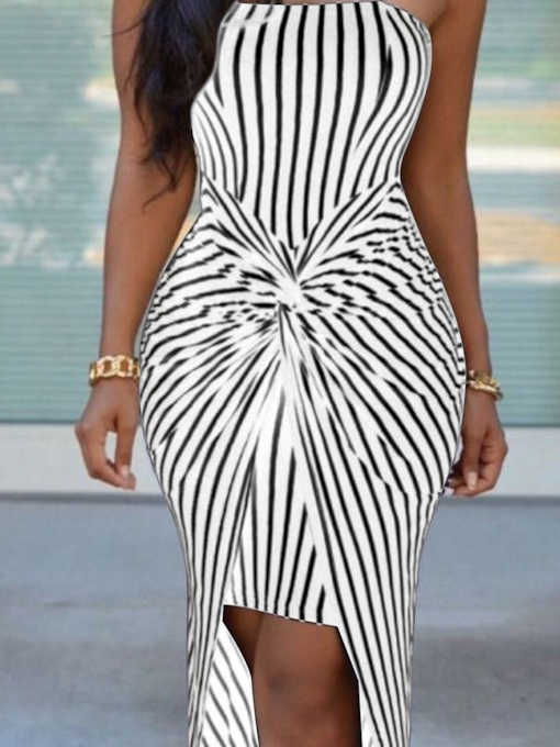 Sleeveless Pleated Asymmetric Women's Bodycon Dress