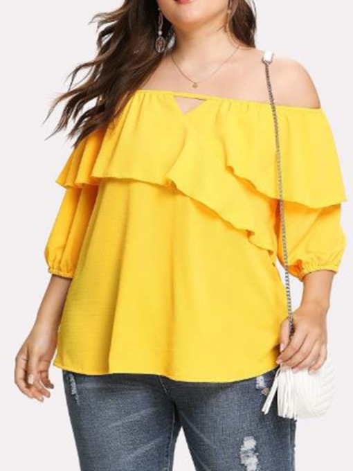 Off Shoulder Plus Size Plain Three-Quarter Sleeve Women's Blouse