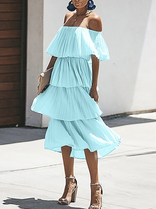 Off Shoulder Half Sleeve Pleated Women's Day Dress