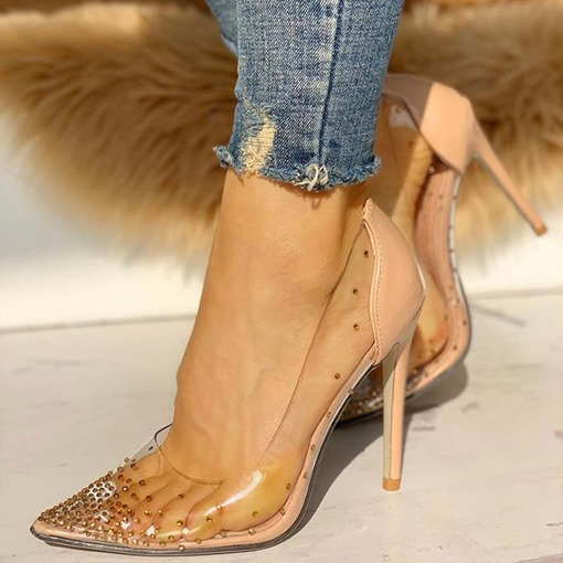 Pointed Toe Stiletto Heel Thread Slip-On Rhinestone Pumps