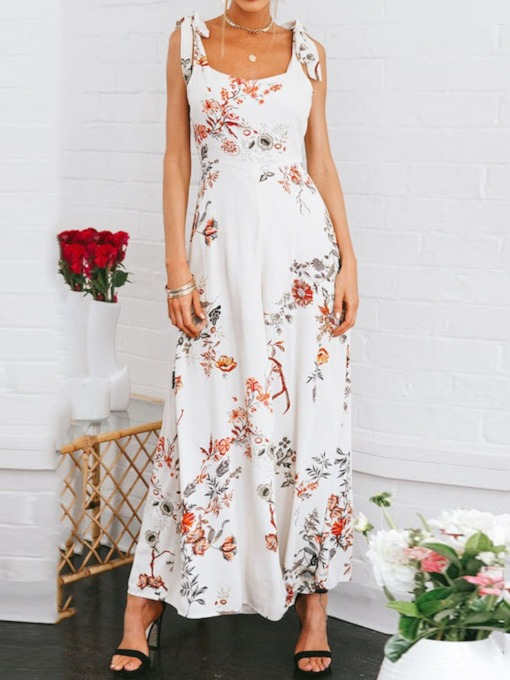 Full Length Western Floral Slim Women's Jumpsuit
