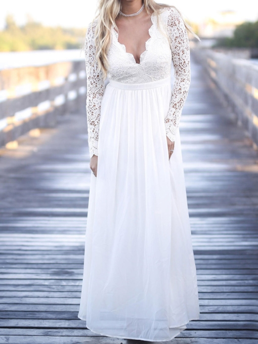 Long Sleeves Lace Beach Wedding Dress 2019