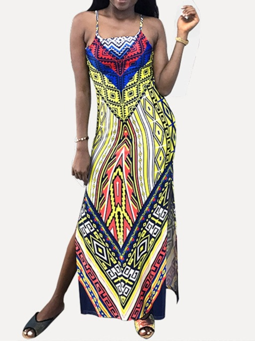 Ankle-Length Sleeveless Print Spaghetti Strap Women's Maxi Dress