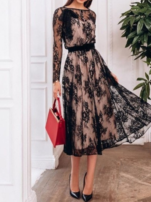 Tea-Length Long Sleeves Lace A-Line Cocktail Dress 2019