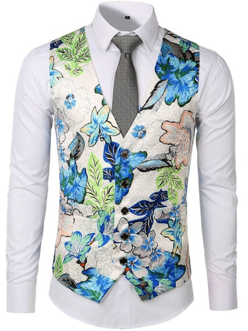 Classic V Collar Slim Fit Floral Printed Wedding Waistcoat Button Plant Summer Men's Waistcoat
