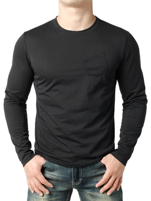 Black/White Plain Round Neck Pocket Casual Loose Men's T-shirt