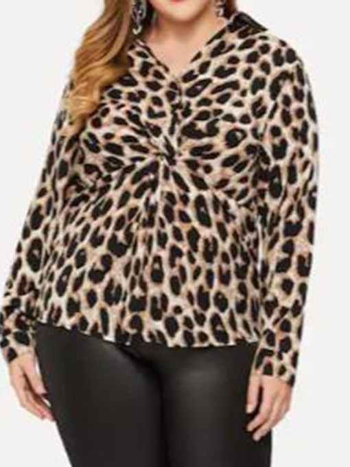 Regular Print Plus Size V-Neck Leopard Long Sleeve Women's Blouse