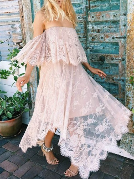 Lace Off Shoulder Short Sleeve Asymmetrical Women's Maxi Dress