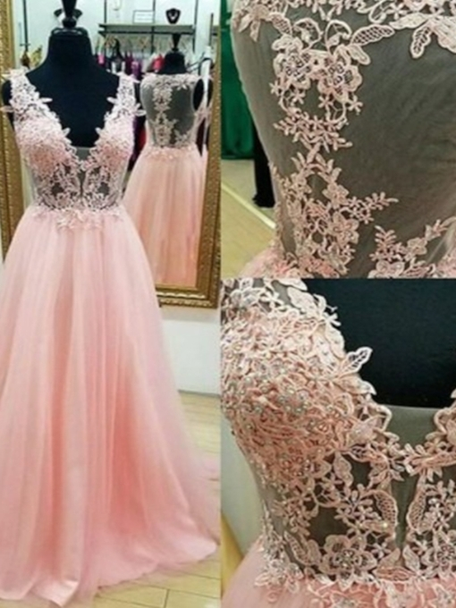 Sleeveless Floor-Length A-Line Appliques Prom Dress 2021