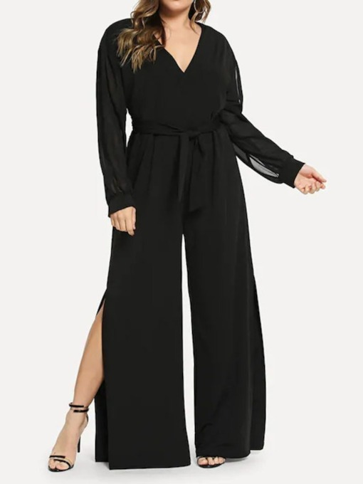 Plus Size Office Lady Lace-Up Plain Full Length Loose Women's Jumpsuit