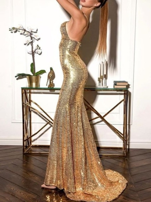 Mermaid Sweep Train Sequins Evening Dress 2019