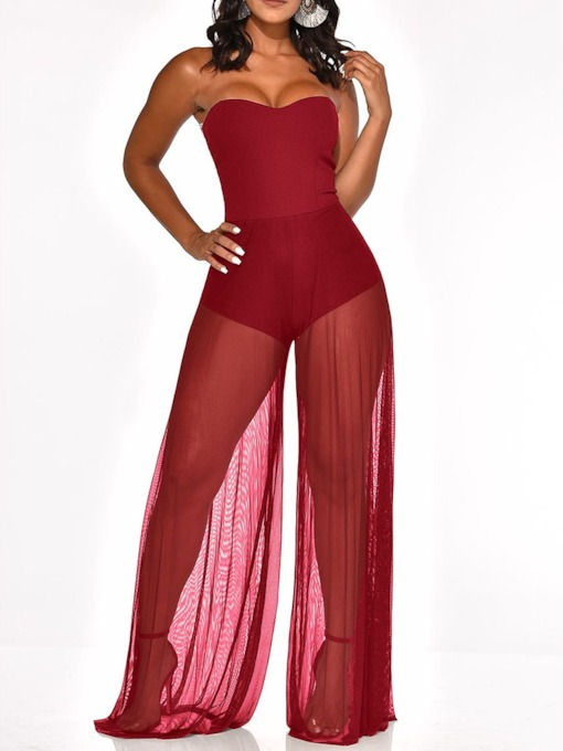 Western See-Through Plain Full Length Slim Women's Jumpsuit