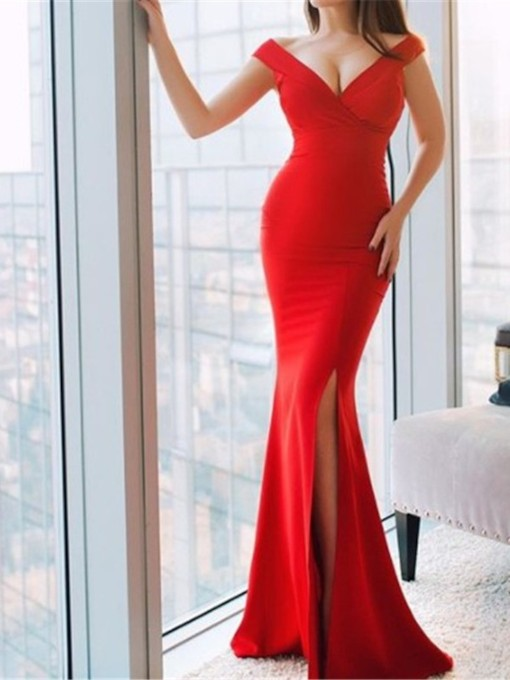 Split-Front Trumpet Floor-Length Evening Dress 2019