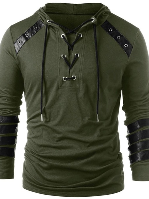 Casual Color Block Patchwork Hooded Long Sleeve Men's T-shirt