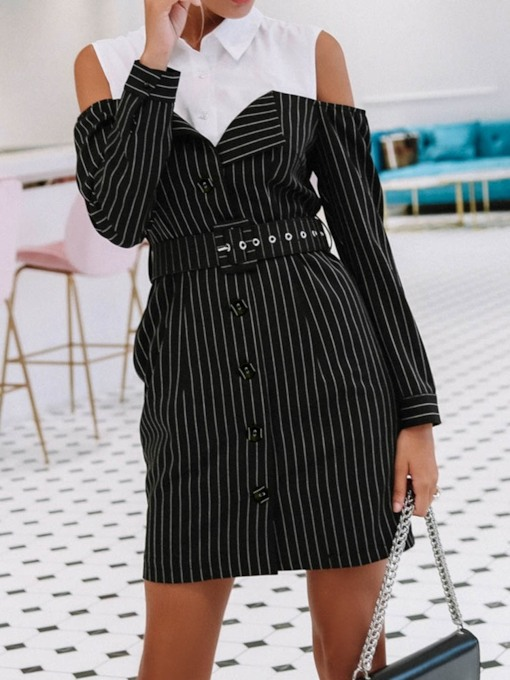 Polo Neck Patchwork Long Sleeve Color Block Women's Day Dress
