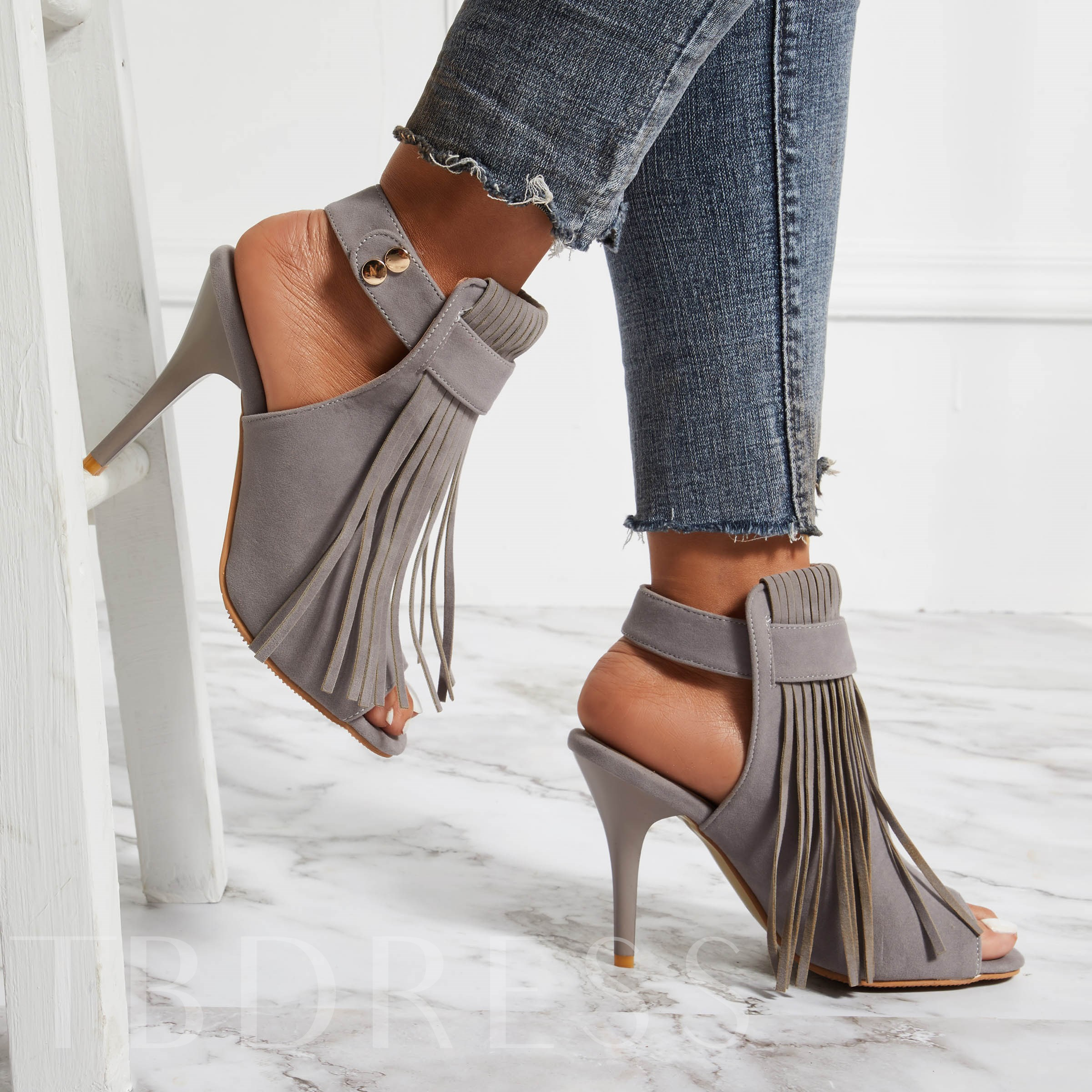 Strappy Buckle Stiletto Heel Peep Toe Fringe Women's Sandals