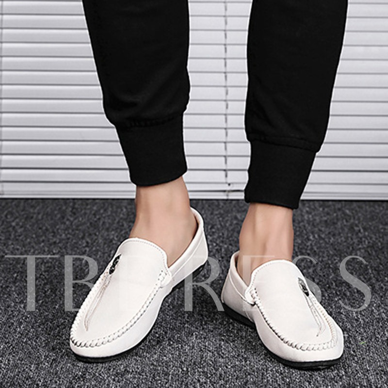 Plain Slip-On Round Toe Soft Men's Driver Shoes