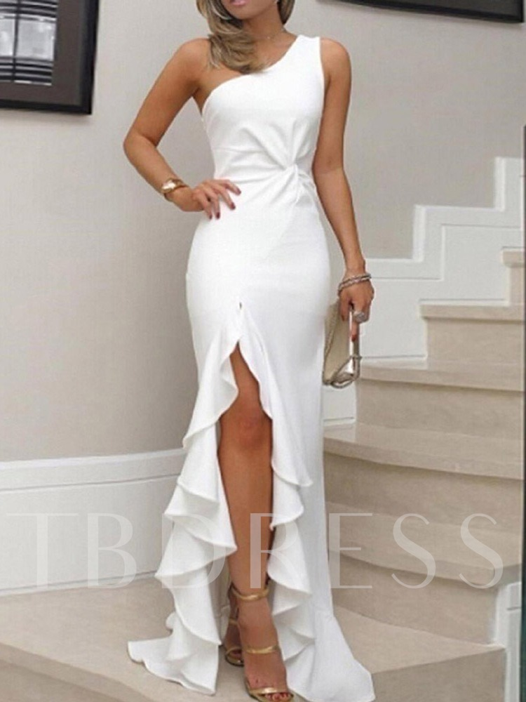 Oblique Collar Sleeveless Pleated Elegant Women's Maxi Dress