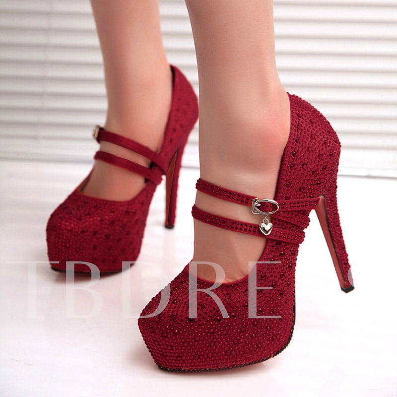 Buckle Stiletto Heel Platform Round Toe Ultra-High Heel Pumps