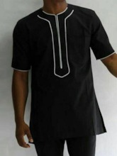 African Fashion Casual Color Block Short Sleeve Men's T-shirt