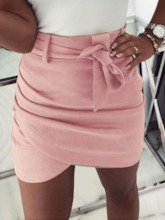 A-Line Plain Mini Skirt Bowknot Office Lady Women's Skirt