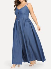 Plus Size Sleeveless Pleated Ankle-Length Summer Women's Dress