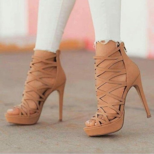 Stiletto Heel Heel Covering Open Toe Zipper Hollow Women's Sandals