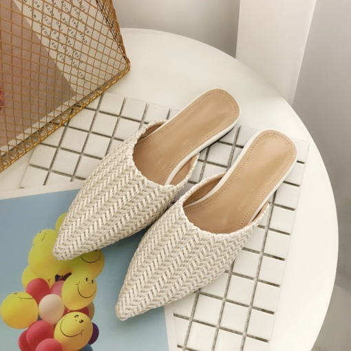 Block Heel Closed Toe Woven Slip-On Summer Slippers