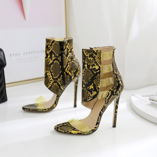 Stiletto Heel Heel Covering Zipper Open Toe Serpentine Sandals