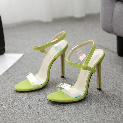 Neon Slip-On Ankle Strap Open Toe Stiletto Heel Casual Sandals