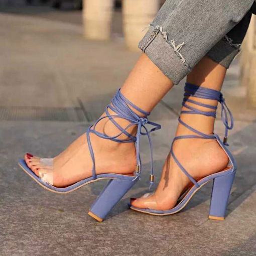 Chunky Heel Open Toe Lace-Up Women's Sandals
