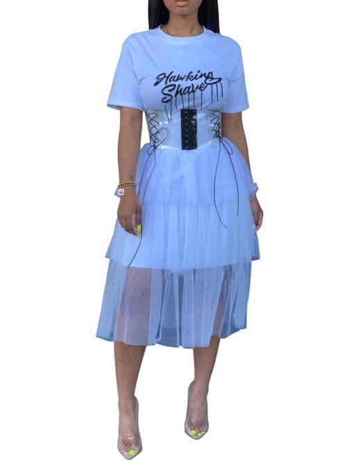 Short Sleeve See-Through Round Neck Mid-Calf Women's Maxi Dress