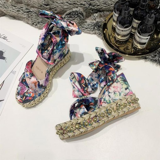 Ankle Strap Open Toe Lace-Up Wedge Heel Bow Floral Sandals