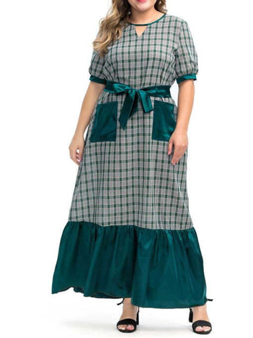 Plus Size Round Neck Pocket Ankle-Length Plus Size Women's Dress