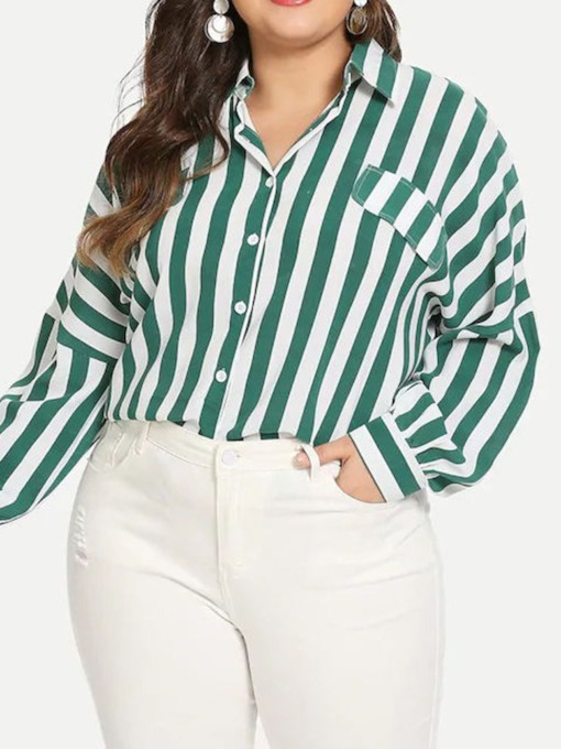Plus Size Color Block Lapel Print Long Sleeve Women's Blouse