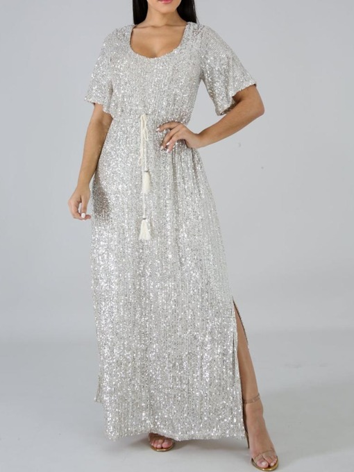 Scoop Short Sleeve Sequins Split Plain Women's Maxi Dress