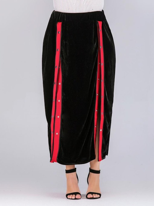 Color Block Bead Ankle-Length Asymmetrical Western Women's Skirt