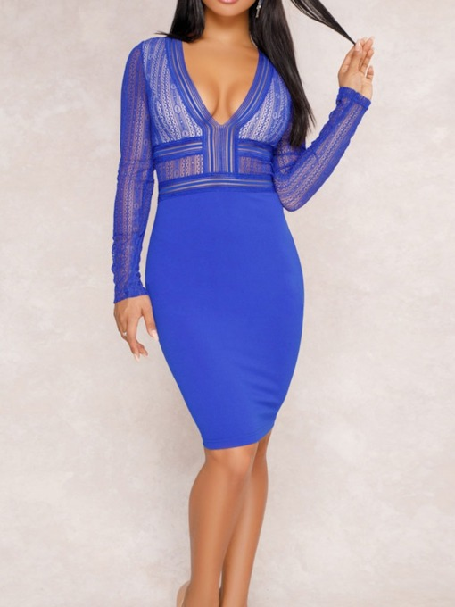 Lace V-Neck Long Sleeve Regular Women's Bodycon Dress
