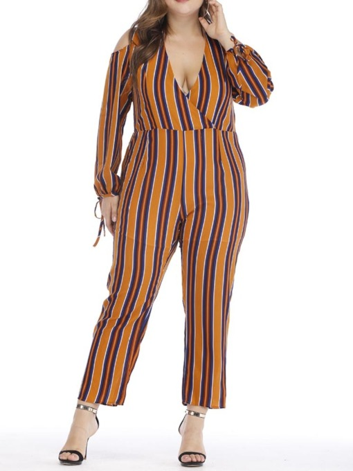 Plus Size Lace-Up Stripe Ankle Length Western Slim Women's Jumpsuit