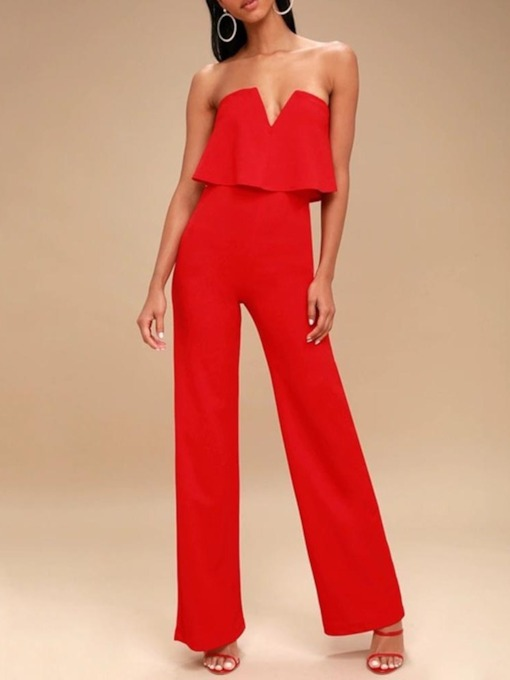 Plain Western Full Length Straight Women's Jumpsuit