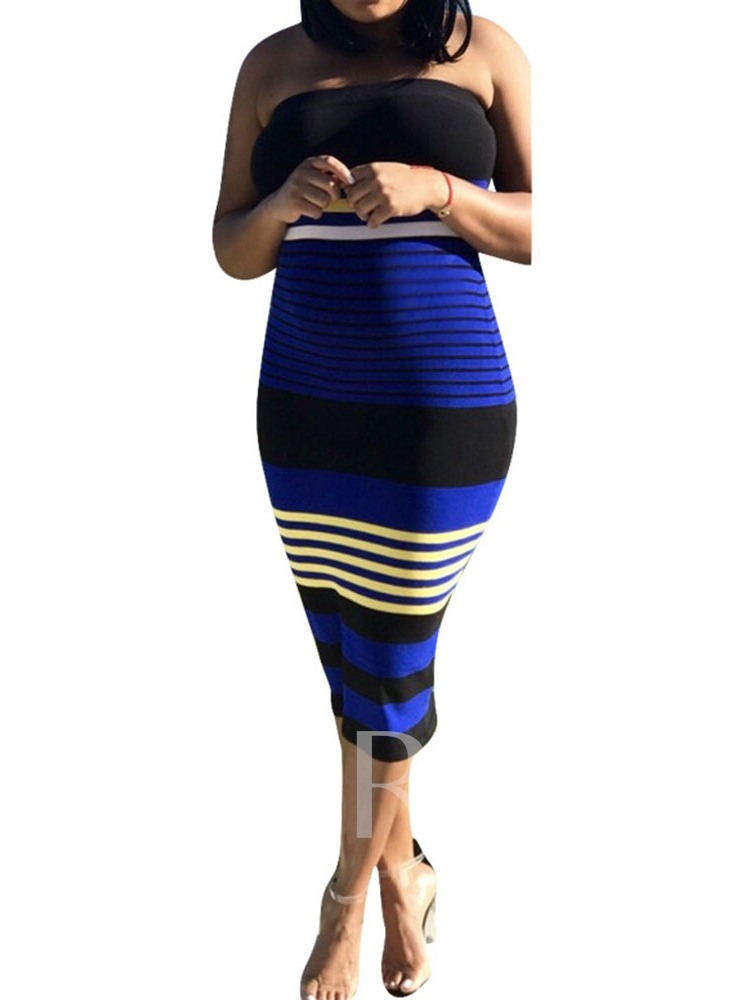Stripe Sleeveless Patchwork Pullover Women's Bodycon Dress