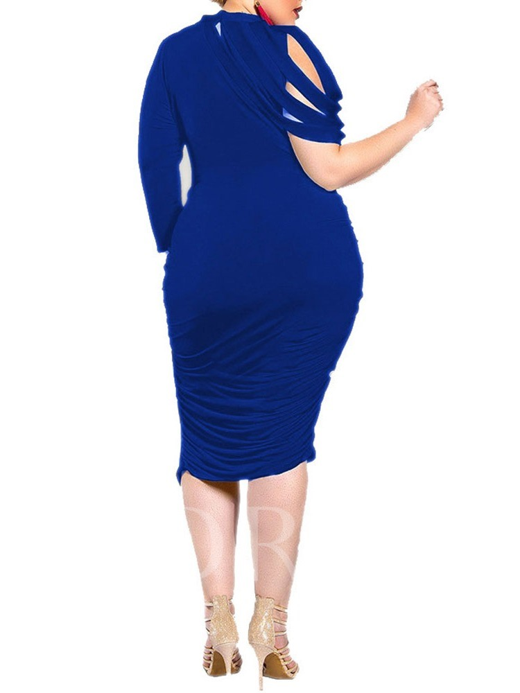 Plus Size Three-Quarter Sleeve Pleated Mid-Calf Round Neck Plain Women's Dress