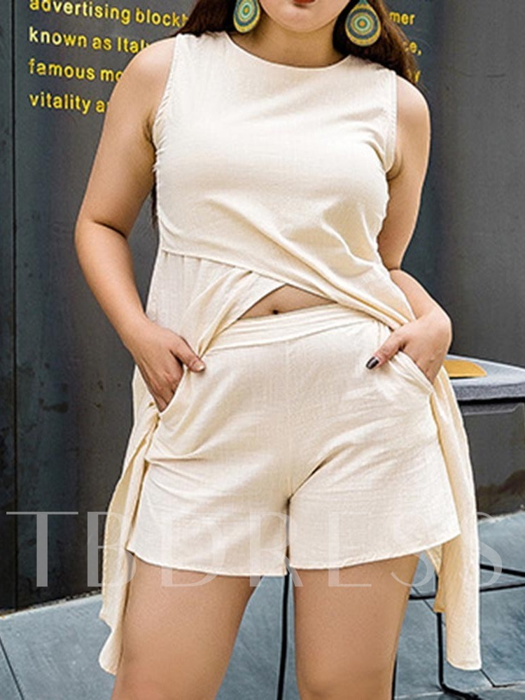 Plus Size Shorts Plain Office Lady Pullover Women's Two Piece Sets