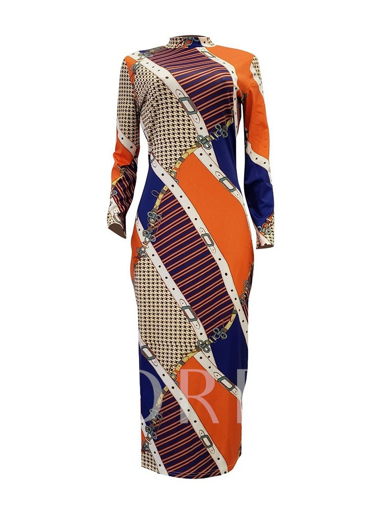 Print Stand Collar Nine Points Sleeve Women's Maxi Dress