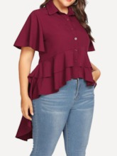 Plain Lapel Button Short Sleeve Plus Size Women's Blouse