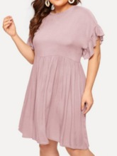 Plus Size Pleated Short Sleeve Round Neck Summer Women's Dress
