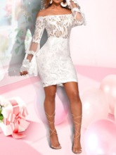 See-Through Off Shoulder Flare Sleeve Women's Lace Dress